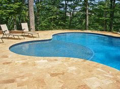Travertine Pool Deck- same color coping