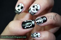 Vic and Her Nails: Halloween Nail Art Challenge - Skull/Skeleton