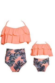 WIWIQS Summer Cute Baby Girls Bikini Set Family Matching Swimwear Mommy and Me Swimsuit(Prime