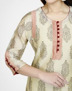 Fabindia.com | Silk Cotton Printed Loop Button Long Kurta