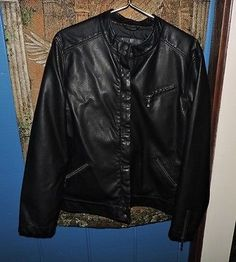 Susan Graver WASHABLE Faux Leather Moto Zip Front Jacket Large