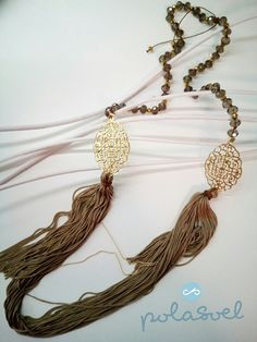 Necklace with gold plated lazer cut elements, iridescent brown /camel stones and brown/camel floss by polasoeljewelry on Etsy Tassel Necklace, Necklaces, Lazer Cut, Iridescent, Camel, Stones, Trending Outfits, Unique Jewelry, Handmade Gifts