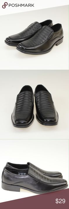 Black Faux Leather Slip On Oxford Dress Shoes These handsome shoes comfortably slip on your feet with a textured top design. Perfect for weddings, business wear, or formal events, these shoes are made of a high quality faux leather with a shined finish. These come brand new in the original box. #18WSHA Shoes Loafers & Slip-Ons