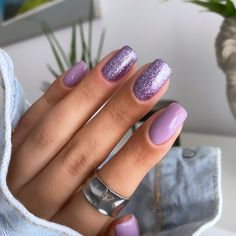 Light Purple Nails, Purple Glitter Nails, Purple Acrylic Nails, Cute Pink Nails, Almond Acrylic Nails, Purple Nail Designs, Acrylic Nail Designs, Acylic Nails, Nail Designer