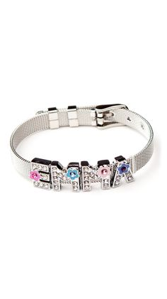 Personalized Stainless Steel Adjustable Buckle Bracelet - Silver.