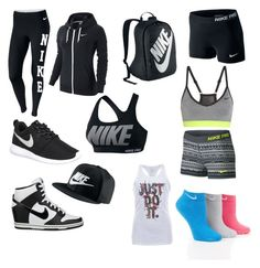 """""""Nike. From shoes to sports bras to backpacks to shorts"""" by pinkfluffypuppydoggy on Polyvore featuring NIKE, women's clothing, women's fashion, women, female, woman, misses, juniors and nike"""