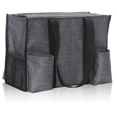Charcoal Crosshatch - Zip-Top Organizing Utility Tote - Thirty-One Gifts - Affordable Purses, Totes & Bags Popular Handbags, Cheap Handbags, Black Handbags, Purses And Handbags, Luxury Handbags, Luxury Purses, Organizing Utility Tote, Tote Organization, Spring Purses