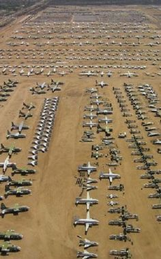 Rust in Peace: Non-Human Graveyards-- These are all abandoned military planes just sitting in the desert!