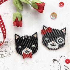 Perfect for #valentinesday , Mr & Mrs Valentine ❤️ #valentines #stvalentin #brickstitch #miyukibeads #miyuki #delicabeads #cats #perfect
