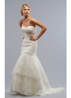 Cute Sheath Sweep Train Strapless Sleeveless Tulle Wedding Dresses - Wedding Dresses