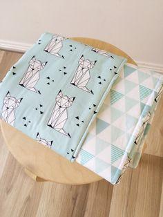 Mint geo fox modern cot quilt. Reversible crib blanket. Monochrome. Nursery blanket.