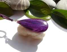 Pendentif bohème chic agate violette bélière plaqué argent : Pendentif par lapassiondisabelle