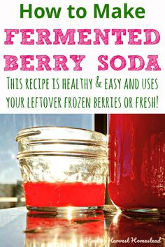 Want a healthy homemade soda recipe that is filled with probiotics and is actually good for you? Here's my fermented berry soda recipe. You use frozen or fresh berries for a healthy soda. Serve this drink cold for a summer refreshment. Healthy Soda, Healthy Drinks, Real Food Recipes, Healthy Recipes, Drink Recipes, Healthy Tips, Soda Recipe, Fruit Infused Water, Fermented Foods