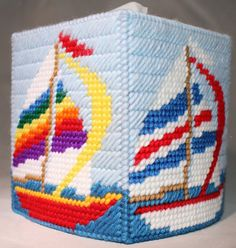 Summer Sailboat Tissue Box Cover by HandcraftedHolidays on Etsy, $14.00