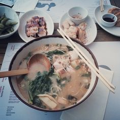 """See 1451 photos from 21395 visitors about ramen, teriyaki, and trendy. """"Sea food ramen is unexpectedly delicious. Wagamama, Ramen, Seafood, Meat, Chicken, Life, Sea Food, Cubs, Seafood Dishes"""