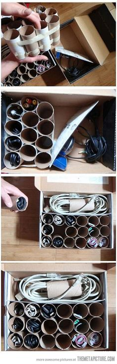 How to store your cables perfectly ordered…I did this but with crystal light plastic containers - they are see thru and you can write on them!! AWESOME!!