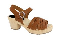 Lotta From Stockholm Womens High Heel Braided Wooden Clogs in Tan Leather