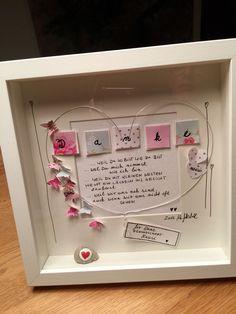 """Bild """"Danke für die Freundschaft"""" UNIKAT incl. Rahmen und Passepartout ❤️alle meine persönlichen Bilder sind unverwechselbar mit dem """"WG ART handmade with love"""" stofflabel gekennzeichnet.❤️"""