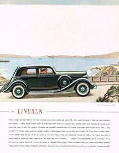 1935 BIG Vintage Lincoln Five-Passenger Coupe Car Automobile Art Print Ad