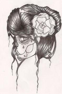 518ff27f4 Sugar skull Sugar Skull Girl, Sugar Skulls, Tumblr Drawings, Pencil  Drawings, Day