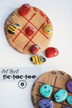 Bust the summer boredom blues with Pet Rock Tic-Tac-Toe! {OneCreativeMommy.com} Paint and Play! #petrocks #tictactoe #boredombuster