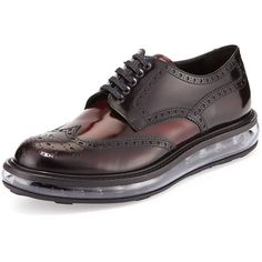 Prada Levitate Leather Wing-Tip Derby Shoe ( 910) ❤ liked on Polyvore  featuring fe21bbe008f2