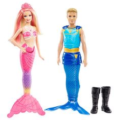"""Barbie Pearl Princess with Prince Ken Triton, 2-Pack - Mattel - Toys """"R"""" Us this is cool a mermaid & a merman"""
