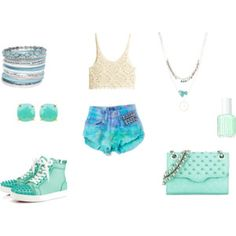 #Boho Bangle Bracelet Set #Brooke Earrings in Teal #Christian Louboutin Lou Spikes Women's Flat #H&M Crocheted top #Summer Vintage One of A Kind Short #Triple Layer Dream Catcher Necklace #Essie Fashion Playground Nail Polish #Rebecca Minkoff Quilted Affair Studded Mini Shoulder Bag, Minty
