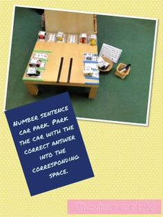 Number sentence car park. Read the number sentence and park the car with the answer on it in the correct space. EYFS