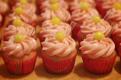 Pink lemonade mini cupcakes, iced with pink leamonade cream cheese frosting. Decorated with a Lemonhead and a straw! Pink Lemonade Cupcakes, Pink Lemonade Party, Cupcake Wars, Tasty Kitchen, Cupcake Recipes, Yummy Cakes, Delicious Desserts, Sweet Treats, Baking