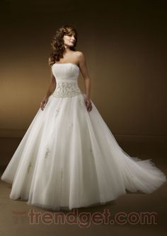 Unique Ball Gown Strapless Floor-length Organza White Wedding Dresses