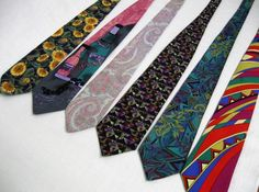 Six Vintage Ties ranging from sunflowers and by AudreysStash, $30.00