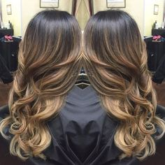 Dark brown ombre balayage hairstyle with natural waves, trend of 2015