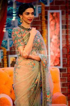 @DeepikaPadukone beautiful in #Saree & Blouse w/ Floral Embroidery promoting…