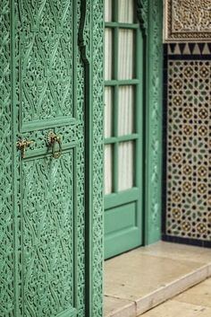The gorgeous up close details in a hand carved Moroccan door. #Hand #Carvings #Moroccan #Decor.