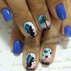 Unha Azul de Arte & unhas KM. Blue nail. Uña azul. Unghie blue.