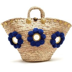 Muzungu Sisters Sicilian pompom straw tote ($343) ❤ liked on Polyvore featuring bags, handbags, tote bags, purses, blue multi, purse tote bag, straw handbags, straw hand bags, man tote bag and handbag purse