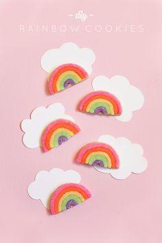 These Rainbow sugar cookies are so simple and no frosting skills required. Rainbow Pinata, Rainbow Donut, First Birthday Favors, First Birthday Banners, Rainbow Sugar Cookies, Layered Drinks, Rainbow Invitations, Rainbow Parties, Kid Parties