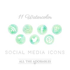 Social icons watercolor -  different