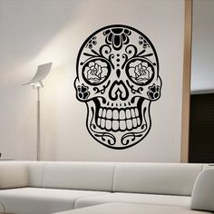 sugar skull wall stickers bedroom creative home decor removable wall decals vinyl art murals - Designer Wall Stickers
