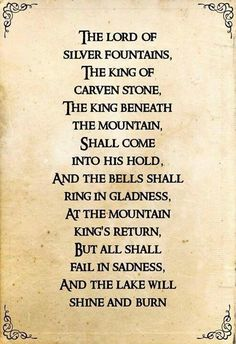 lord of the rings poems - Google Search