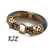 Leopard jewelry KJL Statement bracelet Black gold two animal