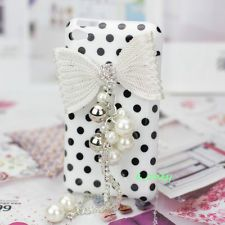 justice ipod cases for girls   Style Girl Bling Bow Crystal Pearl Polka Dot Cover Case For iPod Touch ...