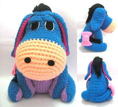 eeyore  animal crochet cartoon doll winnie the pooh crochet doll disney  (finished items). $50.00, via Etsy.