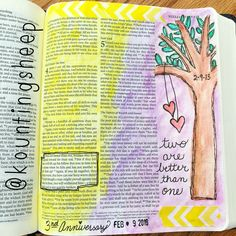 """Bible art journaling in Ecclesiastes 4 """"two are better than one"""" using watercolor, gel pen, washi tape, date stamp. Bible Art, Bible Verses, Scriptures, Art Journal Inspiration, Journal Ideas, Lamentations, Illustrated Faith, Love The Lord, Journal Art"""