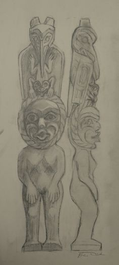 """Totem pole Original Drawing by Beau Dick (Kwakwaka'wakw) Pencil on paper. 13"""" x 24"""" Fazakas Gallery is a Vancouver Art Gallery with exciting works from Contemporary Artists from diverse backgrounds and cultures.  www.fazakasgallery.com"""