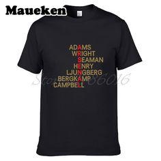 Men T-shirt retro crossword Highbury Legend Thierry Henry Bergkamp Ljungberg Seaman Adams Wright Clothes tee W0316005 #Affiliate