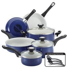 Farberware New Traditions Speckled Aluminum Nonstick 12-Piece Cookware Set, Blue with Black Handles -- You can find more details by visiting the image link.