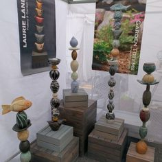 Booth Shot of Totems | Laurie Landry Pottery