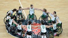 The Australia women's wheelchair basketball team huddle together as they celebrate their victory during the Group A Preliminary Women's Wheelchair Basketball match between Australia and Brazil on day 1 of the London 2012 Paralympic Games at the Basketball Arena